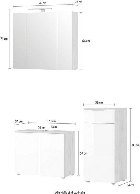 Badezimmer Sets - GERMANIA Badmöbel Set »Avino«, (3 St), Spiegelschrank inkl. LED Beleuchtung, Glasfronten, Soft Close Funktion  - Onlineshop OTTO
