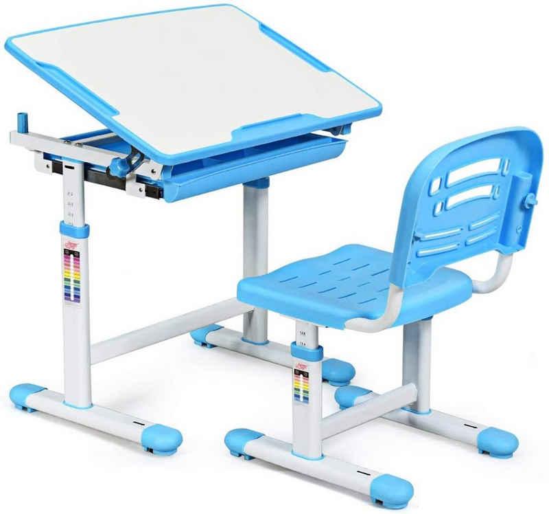 COSTWAY Kinderschreibtisch »Schülerschreibtisch, Kindertisch, Schreibtisch Kinder«, mit Stuhl, höhenverstellbar, neigungsverstellbar, Blau