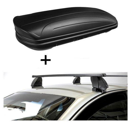 VDP Fahrradträger, Dachbox VDPMAA320 320 Liter abschließbar schwarz matt + Dachträger K1 MEDIUM kompatibel mit Nissan Leaf (5Türer) 10-16