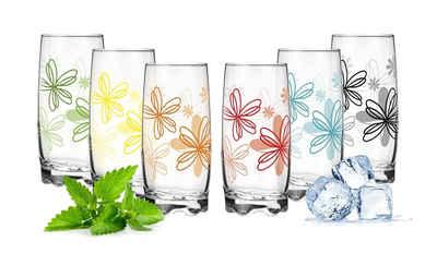 PLATINUX Glas »Trinkgläser«, Glas, mit Blumen Dekor Set 6 Teilig 350ml Wassergläser Saftgläser mit geformten Boden Frühstücksglas