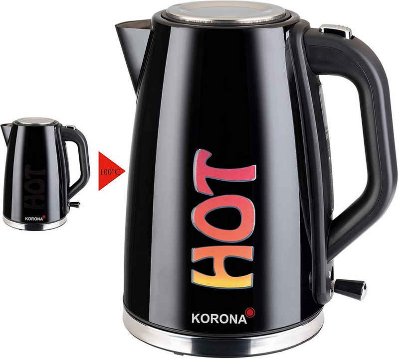 """KORONA Wasserkocher 20355 leistungsstarker Wasserkocher mit Farbwechsel """"HOT"""", 1,7 l, 2200 W, 1,7 Liter Fassungsvermögen, 2200 Watt, Wechselt während Kochvorgang die Farbe, Abschaltautomatik, Dampfstopp-Automatik, Trockengehschutz, Kontrollleuchte. Ein-Hand-Bedienung, 360° Basisstation, Farbe: Schwarz"""