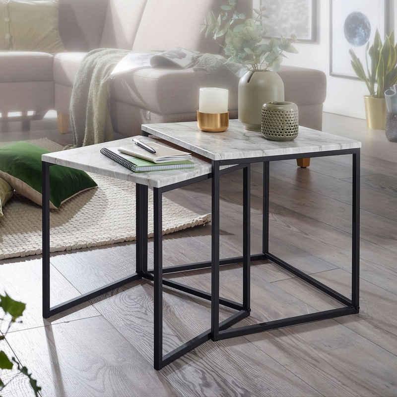 FINEBUY Satztisch »FB53005«, Design Beistelltisch 2er Set Marmor Optik Weiß Couchtisch 2 teilig Tischgestell Schwarz Kleine Wohnzimmertische Moderne Satztische