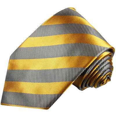 Paul Malone Krawatte »Designer Seidenkrawatte Herren Schlips modern gestreift 100% Seide« Schmal (6cm), gold grau 640