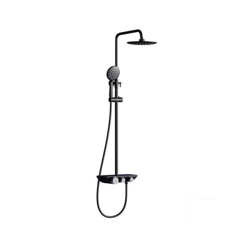 doporro Duschsystem »doporro Design Duschsystem Dusch-Set Duschkopf Duscharmatur Regen-dusche DIN-Anschlüsse«, Höhe 119 cm, 3 Strahlart(en), Duschsystem mit Anti Kalk Duschkopf, Aufputz-Brausethermostat