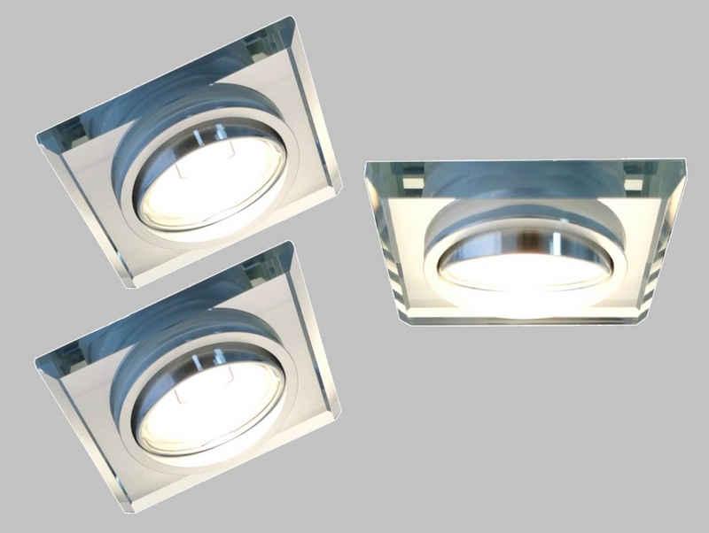 TRANGO LED Einbauleuchte, 3er Set 6729S-03GU5W-AK *CRYSTAL* LED Deckenstrahler aus handgeschliffenem Glas & Alu inkl. 3x 5 Watt GU10 LED Leuchtmittel 3000K warmweiß, Einbauleuchte, Einbauspots, Deckenleuchte, Deckenspots, Badleuchte, Deckenlampe
