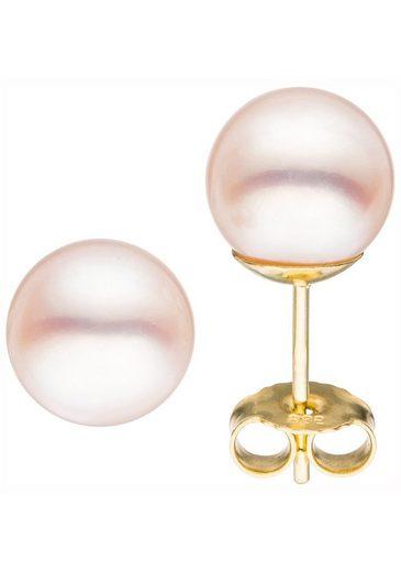 JOBO Paar Ohrstecker, 585 Gold mit Akoya-Zuchtperlen 8,5 mm