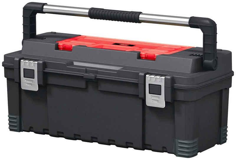 Keter Werkzeugbox »Hawk«, robuster gummierter Metalltragegriff, anpassbare Trennwände, Metallverschlüsse, 60 cm Sicherheitsriemen zur Werkzeugsicherung während des Transports, Antirutsch-Ecken