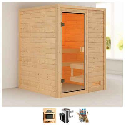 Karibu Sauna »Sandy«, BxTxH: 145 x 145 x 187 cm, 38 mm, 3,6-kW-Plug & Play Ofen mit int. Steuerung