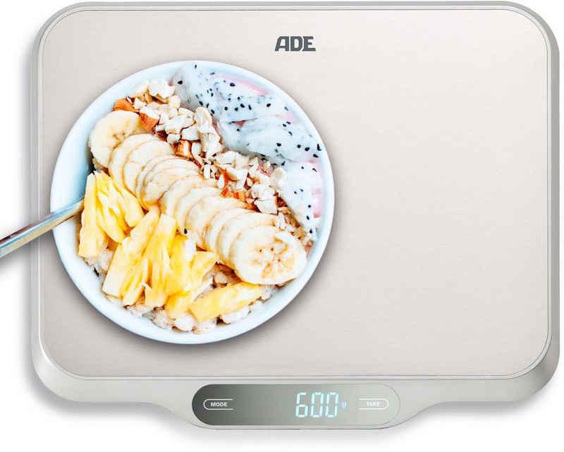 ADE Küchenwaage »KE 1601 Ladina«, Waage mit XXL-Wiegefläche aus Edelstahl für präzises Wiegen bis 15kg, mit Zuwiegefunktion (Tara) und Auto-Hold