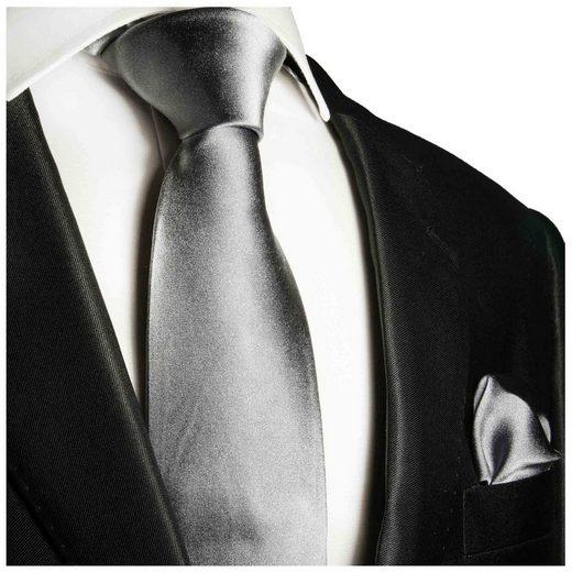 Paul Malone Krawatte »Herren Seidenkrawatte Schlips mit Tuch modern uni satin 100% Seide« (Set, 2-St., Krawatte mit Einstecktuch) Schmal (6cm), silber 360