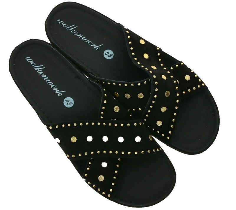 Wolkenwerk »wolkenwerk Sommer-Sandale elegante Damen Sandalette mit goldenen Details Strand-Schuhe Schwarz« Sandale