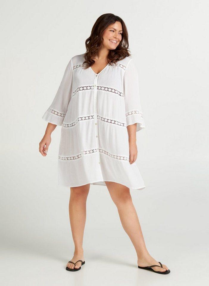 zizzi -  Minikleid Große Größen Damen Kleid mit 3/4 Ärmeln und Knöpfen