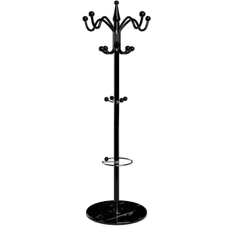 Deuba Kleiderständer »Waved«, (1 St), Garderobenständer 173 cm mit Schirmständer & Marmor Standfuß 14 Haken Metall Stabil Belastbar Drehbar - Schwarz