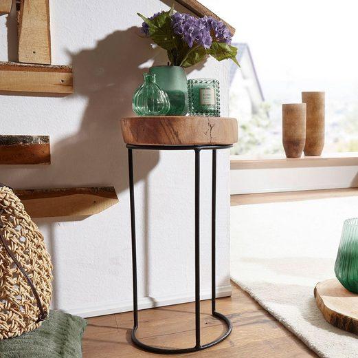 FINEBUY Beistelltisch »SuVa2502_1«, Beistelltisch Massiv-Holz Wohnzimmer-Tisch Metallbeine Landhaus Baumstamm-Form Echt-Holz Natur (FSC® Mix)