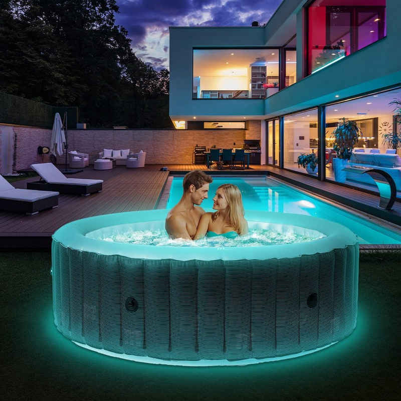 mSpa Whirlpool »Comfort Starry C-ST061 aufblasbarer Outdoor Whirlpool«, (Aufblasbar, komplett mit Zubehör und LED-Beleuchtung), LED-Beleuchtung, Für 6 Personen, 204.0 x 204.0 x 70.0 cm