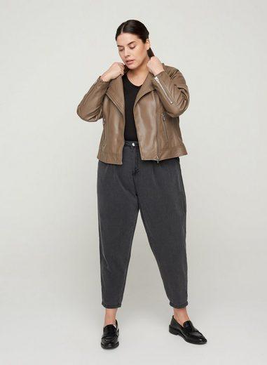 Zizzi Lederimitatjacke Große Größen Damen Jacke mit Reißverschluss, Kragen und Taschen