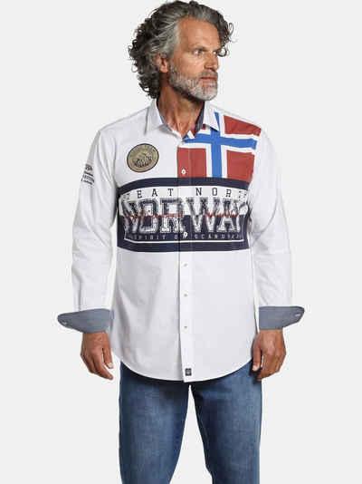 Jan Vanderstorm Langarmhemd »ATLE« Norwegen Flaggen Print