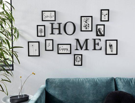 my home Bilderrahmen, für 10 Bilder, Fotorahmen, schwarz, mit Schriftzug, Bildformat 10x15 cm, 13x18 cm und 15x20 cm