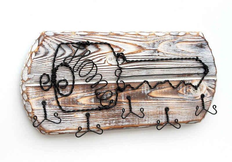 DanDiBo Schlüsselbrett »Schlüsselbrett Holz Schlüsselboard 93910 Schlüsselhaken handgemacht Handmade Bügel Holzschlüssel«