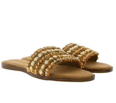 s.Oliver »s.Oliver Latschen flauschige Damen Pantoletten mit Perlenbesatz Hausschuhe Schlappen Orange-Gold« Pantolette