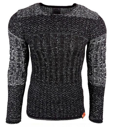 Rusty Neal Strickpullover »RUSTY NEAL Strick-Pullover wärmender Zopfmuster-Sweater Herren Sweatshirt Langarm-Pulli Schwarz«