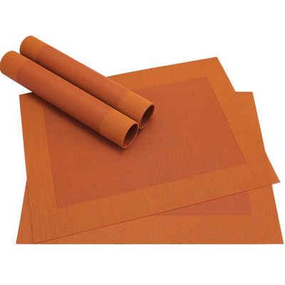 Platzset, »Tischsets BORDA 4 Stk. orange Platzsets 46 cm«, matches21 HOME & HOBBY