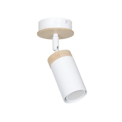 Licht-Erlebnisse Deckenstrahler »NAPO Weiße Deckenleuchte Holz skandinavisch flexibel Flur Wohnzimmer Lampe«