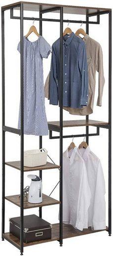 Woltu Garderobenständer »SR0062«, (1 St), Kleiderständer Wäscheständer mit Ablage Schuhregal aus Holz und Stahl, Hängeregal, für Schlafzimmer, Flur