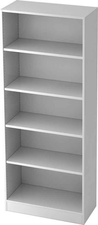 bümö Aktenregal »OM-6000«, Büroregal, Bücherregal, Regal für Ordner, Akten & Bücher mit 5 Ordnerhöhen - Dekor: Weiß