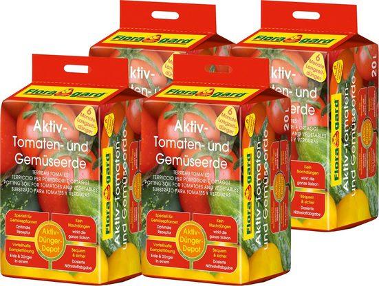 Floragard Pflanzerde »Aktiv-Tomaten- und Gemüseerde«, mit Langzeitdünger, (4-St), je 20 l