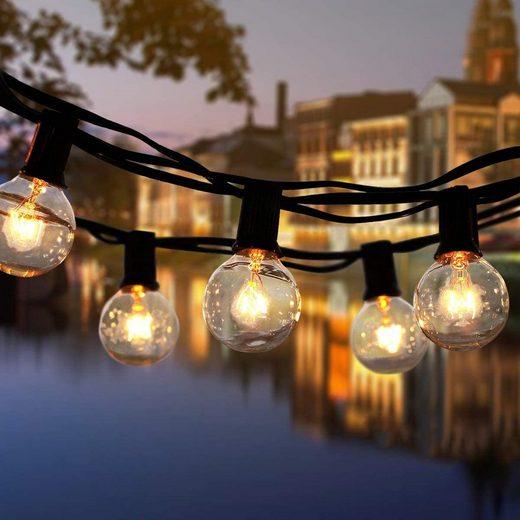 GlobaLink Lichterkette »G40 Lichterkette Außen«, 30-flammig, 12.2 m Lichterkette Garten mit 30+3 Glühbirnen LED Lichterkette Außen Lichterketten Außenbereich für Party, Hochzeit, Halloween und Weihnachten, Warmes Gelb