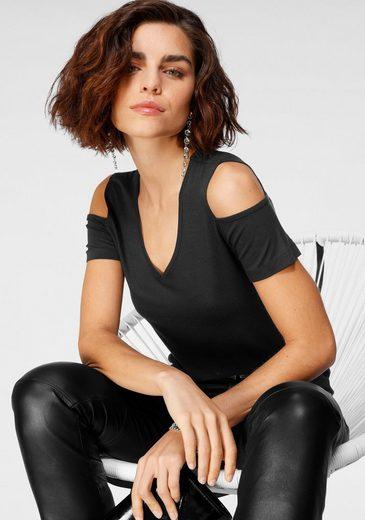 Tamaris V-Shirt im Cold-Shoulder-Look