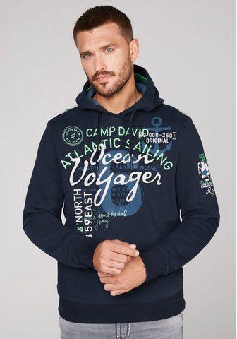 CAMP DAVID Sportinis megztinis su gobtuvu su auff...