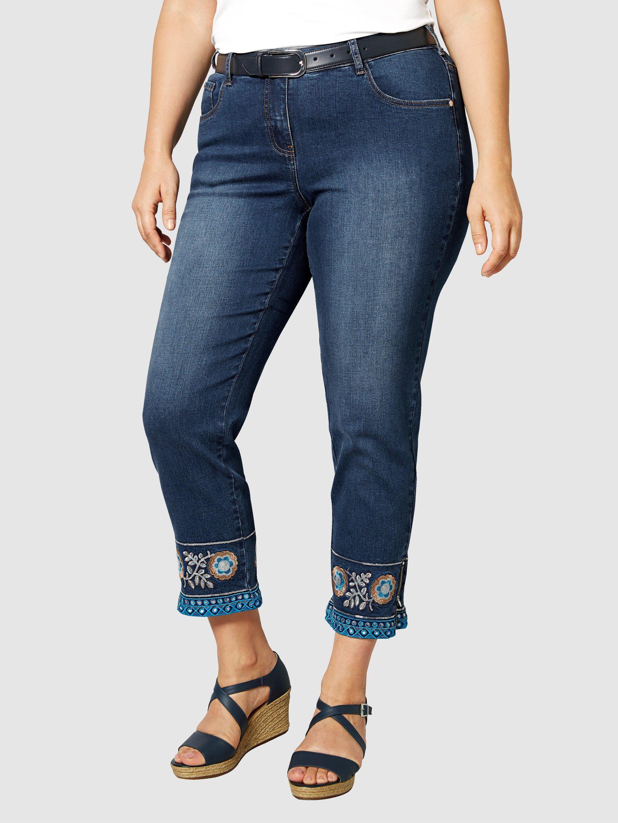 Sara Lindholm by Happy Size Jeans mit Blumenstickerei online kaufen | OTTO