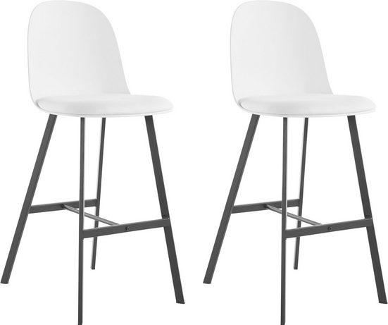 INOSIGN Barhocker »Asta« (2 St), Kunststoffschale mit festmontiertem Stoffkissen, Sitzhöhe 75 cm, maximale Belastbarkeit 120 kg