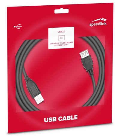 Speedlink »Speedlink 3m USB 2.0 Verlängerungs-Kabel USB-A Stecker zu USB-A Buchse HighSpeed Verlängerung A-Stecker auf A-Buchse USB-Kabel« USB-Kabel, USB Typ A, Standard-USB (300 cm), 3m, Universell