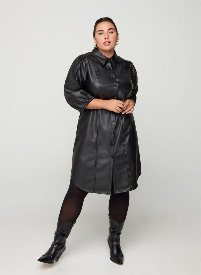 zizzi -  Lederkleid Große Größen Damen Kleid aus Kunstleder mit Knöpfen