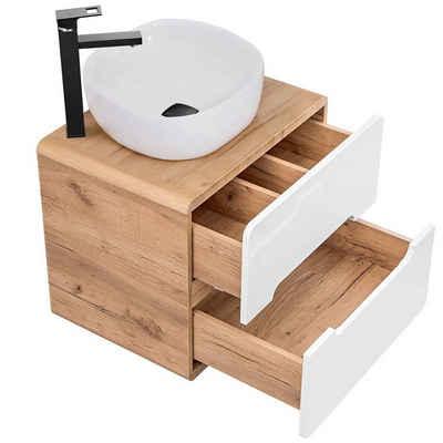 Lomadox Waschtisch »LUTON-56«, Waschtischunterschrank 60cm mit 40cm Aufsatzbecken Hochglanz weiß mit Wotaneiche, B/H/T: 60/68/46 cm