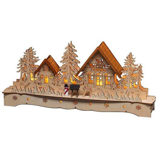 KONSTSMIDE Weihnachtshaus »LED Holzsilhouette, Dorf mit Schneemann und Rentier«