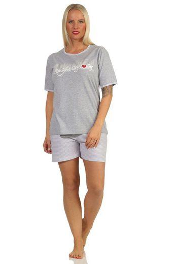 "Normann Pyjama »Toller Damen Shorty-Schlafanzug, kurze Hose, mit Frontprint ""New York City Loving"" 66338«"