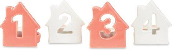 Teelichthalter »Haus - Zahlen 1 bis 4« (Set, 4 Stück), Höhe ca. 7 cm