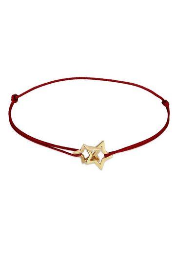 Elli Armband »Rising Star Nylon Basic Trend 925 Sterling Silber«, Sterne