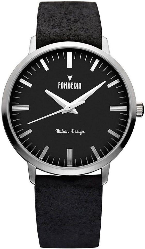 fonderia -  Chronograph »UAP6A003UN3  Herren Uhr P-6A003UN3 Leder«, (Analoguhr), Herren Armbanduhr rund, groß (ca. 41mm), Lederarmband schwarz