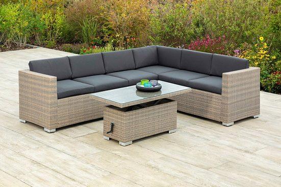 MERXX Gartenmöbelset »Bellante«, (2-tlg), Eckbank und höhenverstellbarer Tisch, mudbraun