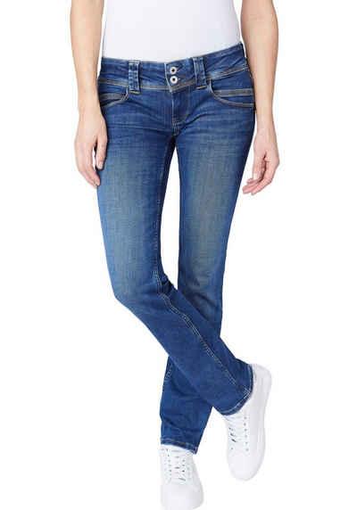 Pepe Jeans Gerade Jeans »VENUS« Straight Passform mit niedrigem Doppel-Knopf-Bund und doppelter Gesäßtasche in tollem Komfort Stretch Denim