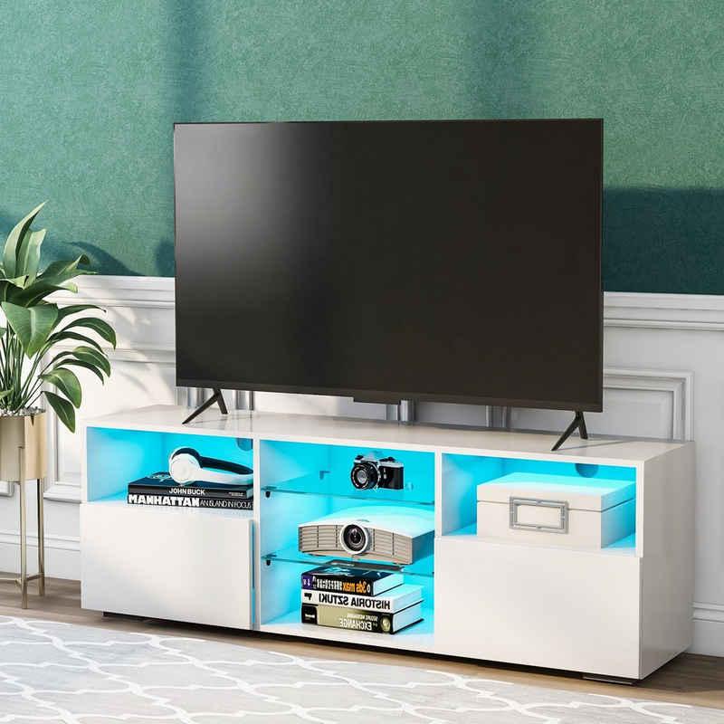Fortuna Lai »LED TV-Standfuß« TV-Ständer, (bis 51,00 Zoll, LED-TV-Ständer 130 cm Schranktisch, mit 16-Farben-LED-RGB-Leuchten)