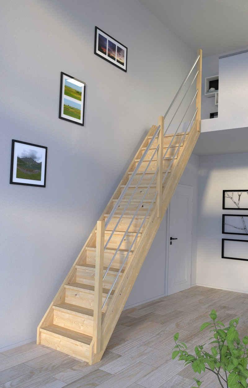 Starwood Raumspartreppe »Korfu, Holz-Edelstahl«, für Geschosshöhen bis 300 cm, Stufen geschlossen, Durchgehende Wangenteile