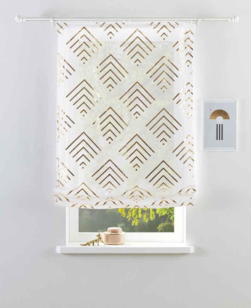 Raffrollo »Gino«, Guido Maria Kretschmer Home&Living, mit Klettband, transparent, mit Foliendruck einseitig bedruckt, Rautenmuster