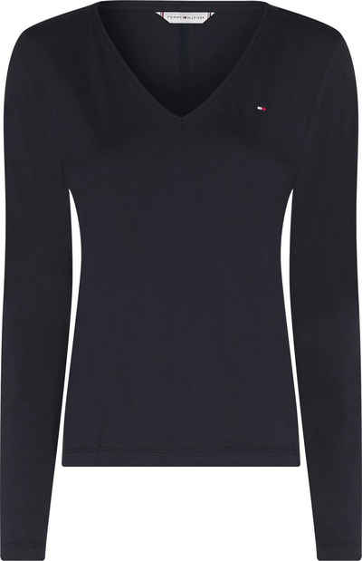 Tommy Hilfiger V-Shirt »REGULAR CLASSIC V-NK TOP LS« mit Tommy Hilfger Logo-Flag auf der Brust