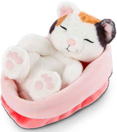 Nici Kuscheltier »Sleeping Kitties, Katze, 16 cm, creme«, mit rot-rosa Körbchen